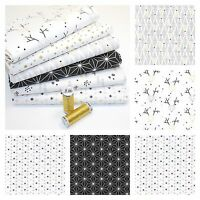 GOLDEN FRENCH CHRISTMAS 100% COTTON FABRIC Geometric Reindeer Stars Gold White