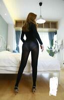 Plus Size 220Lbs Women Men Velvet Anti-Hook Bodystocking Long Sleeve Bodysuit
