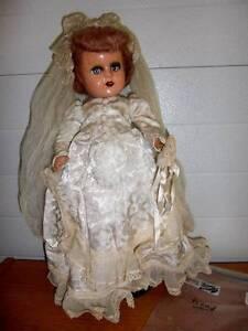 "Unmarked ~ Vintage 18"" Composition Bride Doll, Needs Some TLC"