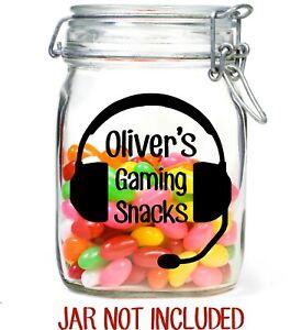 Personalised Gaming snacks Sticker label Jar Kids treats sweets xbox playstation