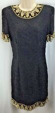 WOMENS LAWRENCE KAZAR BEADED SEQUINED COCKTAIL DRESS SIZE PP BLACK GOLD