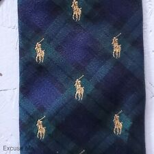 Polo by Ralph Lauren Classic Blackwatch Plaid Tartan Tie Embroidered 100% Silk