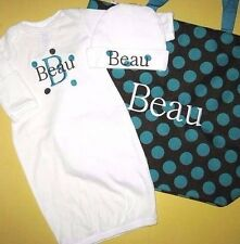 Personalized Baby Diaper TOTE BAG & SLEEPER Gown One Piece & HAT Outfit Gift Set
