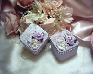 Shabby Victorian Cottage~2 PC Mini Square Tin Set~CHERUB~LAVEN~Rose Design~OOAK
