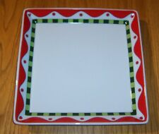 Fitz and Floyd Stocking Stuffers Christmas Serving Tray Platter Red Green White