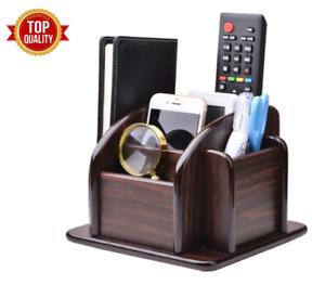 #1 Revolving Caddy Remote Control Organizer Wooden Storage Holder Box TV Stand.