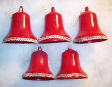 5 Vintage 1950s Red Bakelite Bells w/Ribbon Light Covers Christmas Ornaments Lot