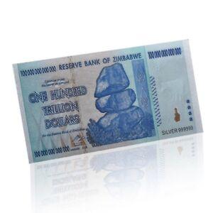 Zimbabwe 100 Trillion Silver Foil Banknote Coloured