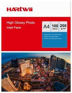 100sheets A4 Photo Paper High Glossy White 200Gsm Inkjet Paper Inkjet Print Hart
