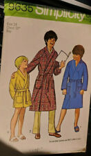 Vtg Simplicity pattern 9635 Boys' Wrap Robe with Shawl Collar size 14 chest 32