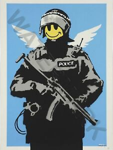 Banksy Happy Angel Policeman Graffiti Street Art Art Print Poster Hp4033