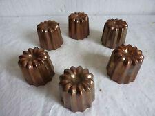 Lot de 6 moule à cannelés en cuivre rouge étamé (lot b)