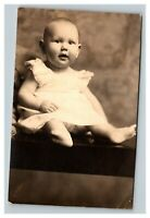 Vintage 1910's RPPC Postcard - Studio Portrait Cute Baby Name on the Back