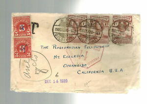 1939  Gold Coast Postage Due Censored Cover to Rosicrucian Fellowship CA USA