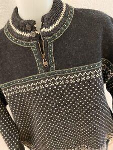Dale of Norway Sweater XL Wool Black Green Mens 1/4 Zip Ski Heavy Pullover