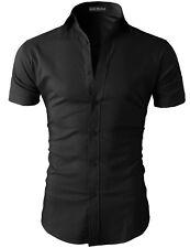 Mens Short Sleeve Shirts Casual Formal Slim Fit Shirt Top S M L XL  PS05