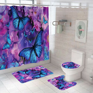 Butterfly bathroom carpet set shower curtain non-slip toilet lid cover bath mat