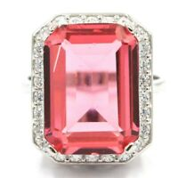 Gorgeous Big Rectangle Gemstone Pink Morganite White CZ Ladies Wedding Silver Ri
