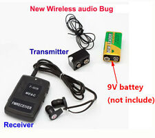 spy BUG Wireless hidden transmitter receiver FM Audio Ear bug Listening Device