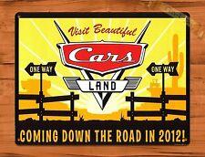 """TIN-UPS Walt Disney Tin Sign """"Cars Land"""" California Adventure Ride Art Poster"""