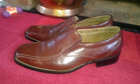 Men's Brown Leather Look Slip-ons by ORMA Size EU 44