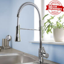 Kitchen Sink Mixer Tap Modern Chrome Single Lever Pull Out Hose Spray Spout