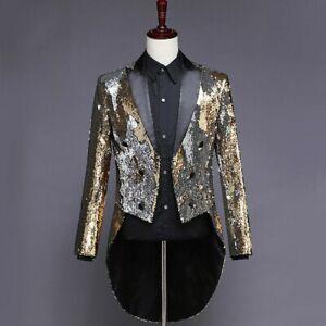 Mens Reversible Two Tone Sequin Suit Jacket Tuxedo Tailcoat Coat Peak Lapel Slim