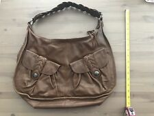 JUNIOR DRAKE Large Brown Leather Pleated Carryall Satchel Tote Purse Bag