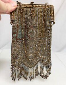 Vintage Art Deco Mesh Beaded Bag   -  81495