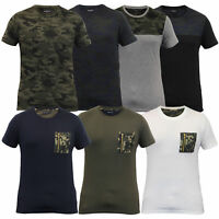 Mens Short Sleeved T Shirts Brave Soul Camouflage Military Army Zip Casual New