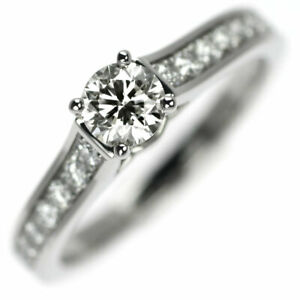 Cartier Pt950 Diamond Ring 0.32ct H VVS2 3EX MK Coffill No.48 - Auth SELBY_JAPAN