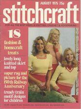 STITCHCRAFT August 1975 vintage sewing magazine knitting fashion craft