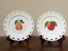 Vintage Kemple White Milk Glass Hand Painted Lattice Heart Fruit Plates ~ Pair