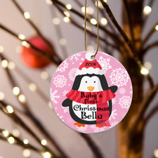 """Personalized Babys First Christmas Girls Pink Penguin Ornament 3"""" Flat One sided"""
