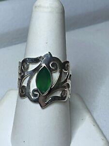 Sterling Silver 925 Green Chrysoprase Ring 3.5g Size 8.75