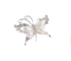 Butterfly Pearl Diamante Brooch Women Accesories Chair Decor Pack of 6