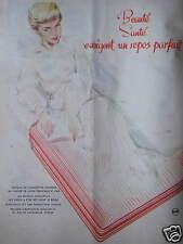 PUBLICITÉ 1958 MATELAS DUNLOPILLO BEAUTÉ SANTÉ REPOS PARFAIT - ADVERTISING