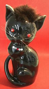 "Vtg gloss black red-eyed jeweled Cat ceramic bank 7.5"" JAPAN necklace fur"