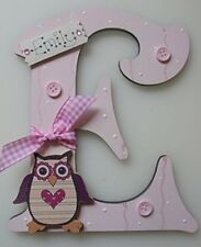 OWL Personalised *ANY LETTER & NAME* kids Room Door Sign Plaque BABY PINK