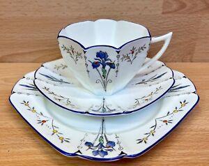 """Shelley Queen Anne Shape """"Blue Iris"""" Pattern 11561 Tea Cup Trio."""