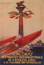 INTERNATIONAL MOTOR BOATS 1929 Vintage Poster CANVAS ART PRINT 24x33 in.