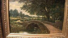 Fishing Boy at Bridge c1890 Antique Art Oil Painting Landscape estate medium