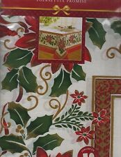 """NEW CHRISTMAS POINSETTIA PROMISE RED & GREEN TABLECLOTH (52""""X70"""" OBLONG/NIP )"""