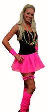 4 pc Set Neon Pleated Tutu 1980s Rave Fancy Dress Dance School Hen Party UK Made