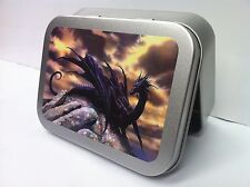 Gothic Dragon, Mythical Creature Cigarette Tobacco Storage 2oz Hinged Tin