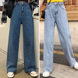 Womens Womens Wide Leg Jeans High Waist Baggy Denim Trousers Straight Long Pants