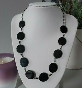 Retro Mod Goth Black Clear Round Glass Beaded Costume Necklace Statement Punk