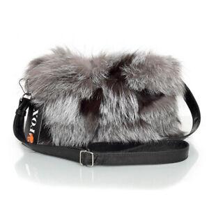 Genuine Silver Fox Fur Crossbody Bag Grey Fur Shoulder Bag Real Fur Handbag FOX