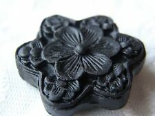 4 Black Carved Flower Cinnabar Lacquerware Beads, 30 mm, for Jewellery/Crafts