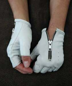 WHITE  LEATHER FINGERLESS GLOVES SIZE 6, 6.5, 7, 7.5,8,8.5